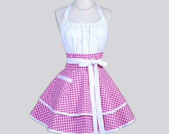 Flirty Chic Apron - Vintage Raspberry Pink Check Gingham Two Layer Skirt Cute Flirty Sexy Retro Womens Apron