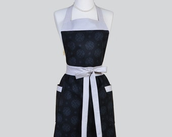 Full Bib Womens Apron . Cute Vintage Apron Black and Lightly Printed Floral and Silver Full Kitchen Apron Personalize or Monogram