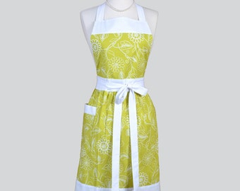 Classic Bib Apron . Apple Green and White Floral Modern Kitchen Apron Ideal to Personalize or Monogram