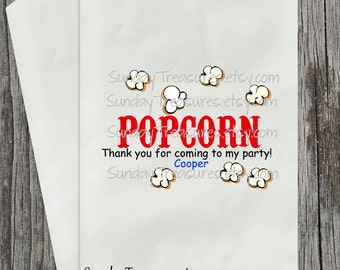 12 Circus Carnival POPCORN Buffet Favor Bags  / Kids Circus Carnival Birthday Party / Custom Colors / Personalized 3 Day Ship