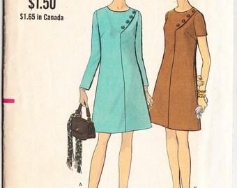 Vintage 1969 Vogue 7611 Sewing Pattern Misses' Half Size One-Piece Dress Size 22-1/2 Bust 45