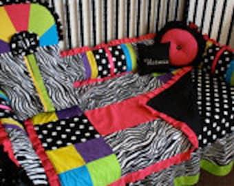 Rainbow Zebra Crib bedding-Free personalized pillow