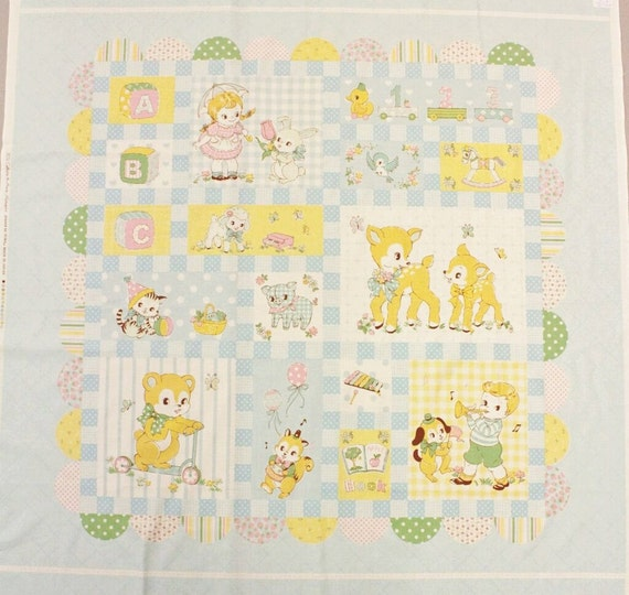 Yuwa vintage inspired retro baby quilt panel cotton fabric for Retro baby fabric