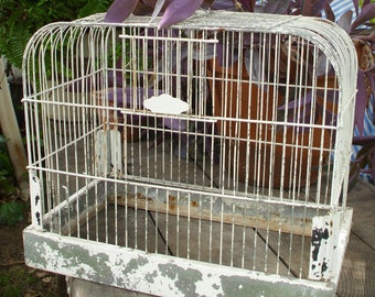 Old Antique Birdcage // Decorative CROWN Brand // Domed Bird Cage with Tray // Metal Painted White