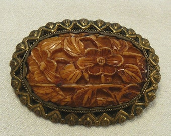 Chinese Export Carved Floral Brooch Vintage Pin