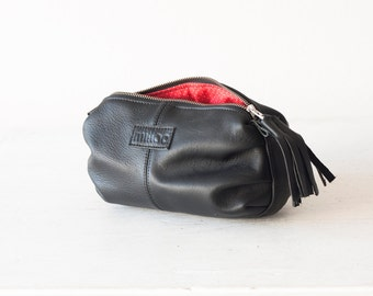 Black leather makeup bag,cosmetic case,vanity storage,accessory bag,toiletry case,utility bag,zipper pouch-Ariadne makeup bag