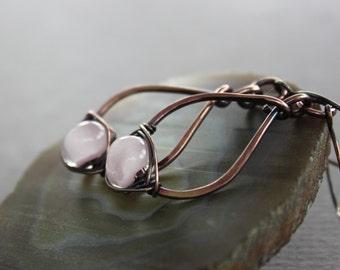 Pear shape copper earrings with herringbone wrapped glowing milky pink lampwork glass - Drop earrings - Dangle earrings
