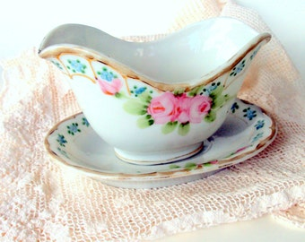 Nippon Hand Painted Porcelain Sauce Boat with Saucer, cr. 1908,Blue Sunrise Mark,Pink Roses Blue Flowers, Gold, Moriage Dots,Wave Shape