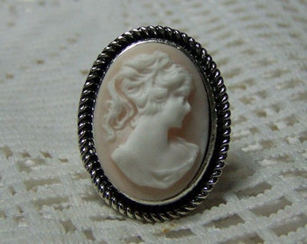 Victorian Cameo ring - Soft Pink Lady Portrait Adjustable Ring - Antique Silver - Southern Belle - Classic Cameo Ring - Gifts for Women