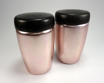 West Bend Coppertone Salt and Pepper Shakers, Aluminum, Mid Century Kitchen, Flour, Powdered Sugar