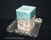 Beach Candle - Seashell Candle - Beach Home Decor - Tropical Candles - Sea Shell Candle - Aqua Green Candle - Nautical  Decor -Pillar Candle