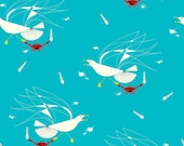 SALE - Birch Fabrics - Maritime Collection - Seagull and Crab in Turquoise Organic