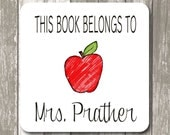 "This book belongs to label stickers - 2"" x 2"" White Photo Gloss, Personalized Teacher Gift,  Back to School Gifts"