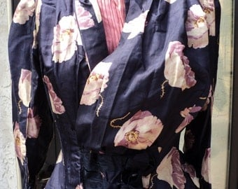 Antique Victorian Bodice and Skirt Bustle Two Piece Floral Pattern Blue Pink Buttons and Bows Stays Display Wearable or Pattern