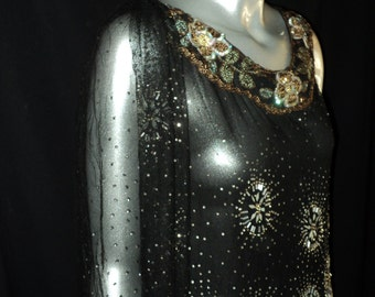"Antique 1920's Beaded Tulle Sequin Collar Evening Gown Red Carpet Original ""Blue Egypt"" Collection Historical Art Deco Stunner"