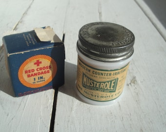 Vintage Red Cross Bandage and Musterole Cream