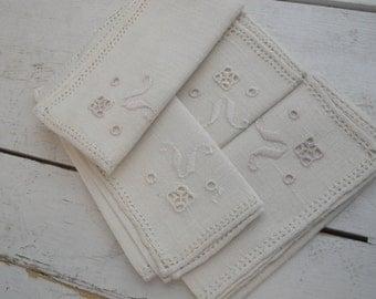 Vintage Linen Napkins Embroider Cut Out Beige Set of 4