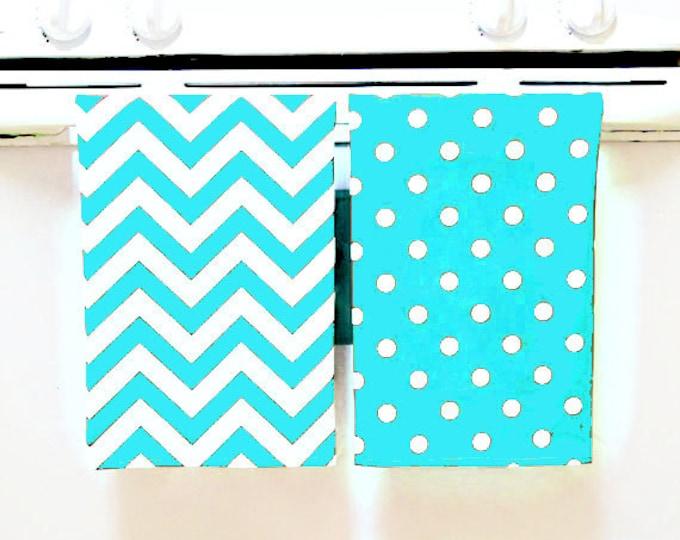TEA TOWELS Set of 2, Dish Towels, Chevron Pattern, Modern Home Decor, Hostess Gift, Teacher Gift, Home Organization