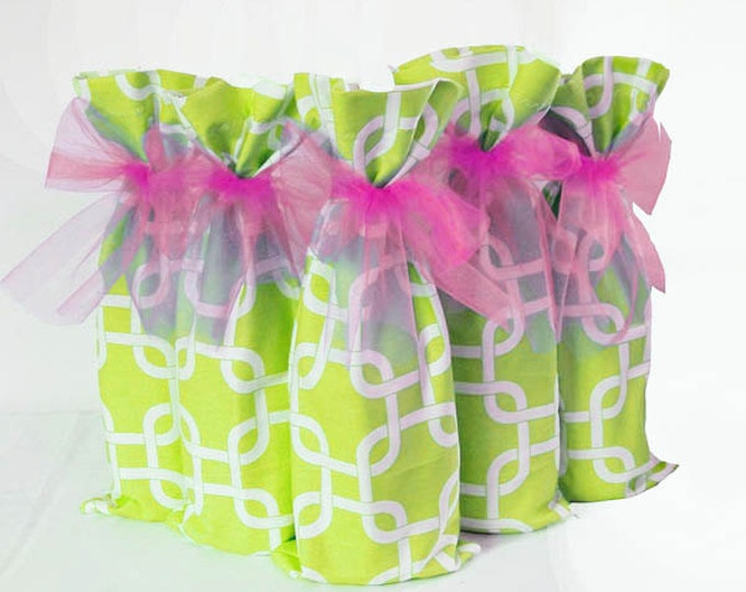 Wine Bags, 5 Pack, Bridesmaid Gifts, 5 Pack Wine Bags, Hostess Gifts, Wine Lover Gift, Aqua Teal Wedding Decor, Table Numbers