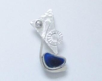 Sea Glass Jewelry - Sterling Rare Victorian English Sea Glass Abstract Pendant