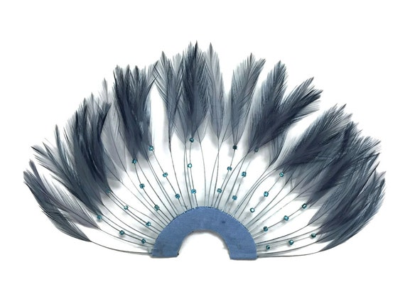 1 Piece - DARK GREY Half Beaded Pinwheel Stripped Rooster Hackle Feather Pads : 4068