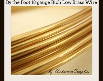 By the Foot 18 gauge Rich Low Brass Wire - Solid Raw Metal - Dead Soft -  100% Guarantee