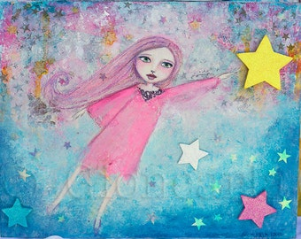 In Dreams- Mixed Media on cradled box frame Original Artwork by Gioncarla
