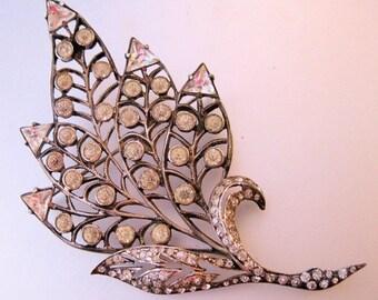 10% OFF SALE ART Deco Huge 54g Sterling Crystal Leaf Brooch Silver Jewelry Jewellery