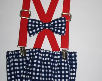 baby boy first birthday outfit, cake smash outfit, navy blue plaid check red, 1st birthday hat, suspenders, diaper cover,  boys bow tie,