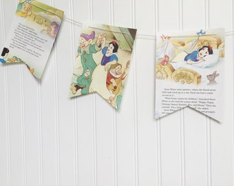 snow white and the seven dwarfs book party decoration banner garland