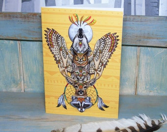 A5 Totem Illustration Journal ~ Notebook with 48 Lined Pages
