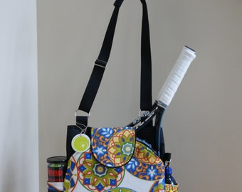 Little Sister to Large Tennis Bag with Rounded Pockets. Made to Order!