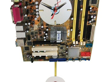 Motherboard Pendulum Wall Clock has Gold/Tan Base Color. Awesome Father's Day Gift.