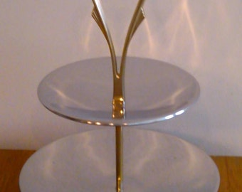 Chrome Tidbit Party Double Tray 1950s