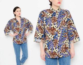 80s Leopard Floral Shirt Animal Print Collared Button Down Blouse Jungle Leaf Boho Top Small Medium S M