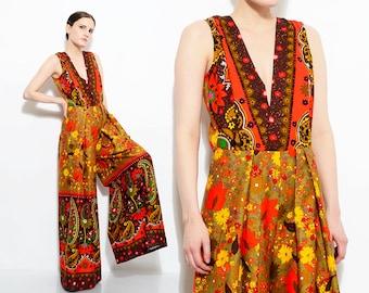 70s Hawaiian Jumpsuit Floral + Paisley Print Barkcloth Romper Deep V Neck Wide Leg Palazzo Pant Suit Small Medium S M