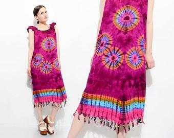 Vintage 90s does 70s Purple TIE DYE Sundress Beaded Fringe Boho Hippie Festival Dress Small Medium S M