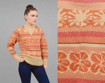 Vintage 70s Tan FLORAL Sweater Striped V Neck Raglan Sleeve Fitted Acrylic Knit Top 1970s Autumnal Pullover Jumper S M