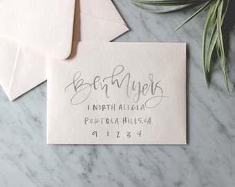 Blush and Grey Hand Lettering Watercolor Envelope Calligraphy