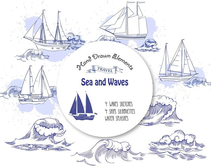 Sea and Waves. Clip art, clipart, Summer holidays, see, wave, ocean, water, summer, marine, hand drawn, travel, ship, yacht, nautical,