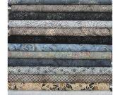 Hoffman Bali Batiks, Stone Grey and Taupe! 12 Fat Quarter Bundle Pre-Cuts!  Fat Quarter Batik Sampler--100% Cotton