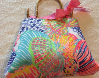 Lilly  Roar fabric Handmade Tote Bag Purse