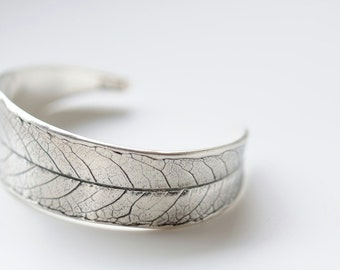 Sterling cuff bracelet. Sterling silver willow leaf bracelet for small wrists