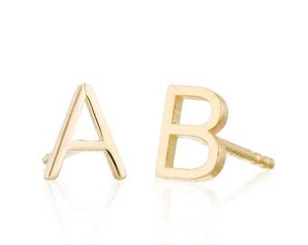 Initial Earrings, Solid 14K Gold Initial Studs, Gold Letter Earrings, Personalized Earrings, Monogram Earrings