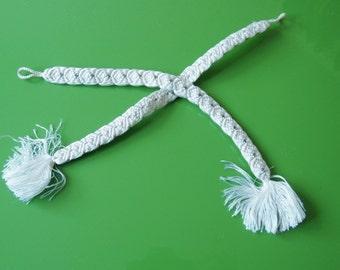 Cream White Haori Himo Ties For Kimono Cardigan Artfully Woven 一