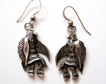 Sterling Silver Eagle Warrior Dangle Earrings, 70s Fish Hook Pierced Native American South Western Hand Carved, Novelty and Rare Vintage