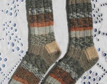 Hand-Knit Wool Socks, Women Medium Size, Superwash Opal Yarn