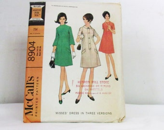 Womens  Vintage 1960s Simplicity  Dress Pattern Style 8904 Size 14 and 16 Bust 34 and 36 Uncut