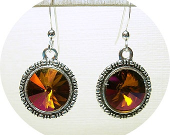 Copper Earrings, Copper Pink Earrings, Dangle Earrings, Bridesmaid Earrings, Mahogany Crystal Earrings, Austrian Crystal Earrings