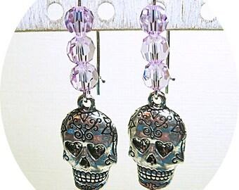 Sugar Skull Earrings, Purple and Silver, Purple Skull Earrings, Day of the Dead, Skull Dangles, Cinco de Mayo, Biker Chick, Orchid Earrings